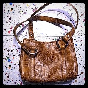 Nine West Tooled Purse Handbag Faux Leather